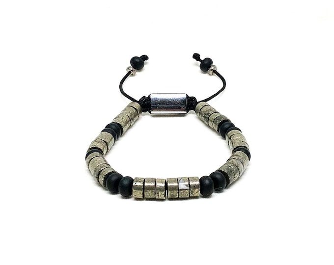 Men's bracelet with Copper Pyrite and Onyx.