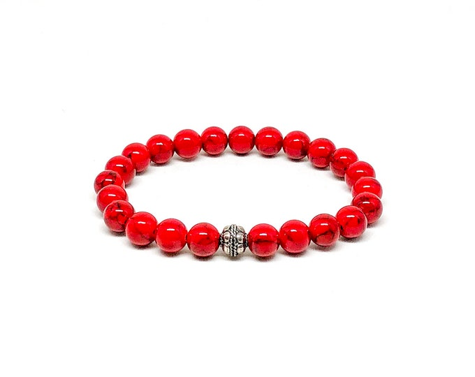 Men's bracelet with Red Jade black striping and 925 Silver.