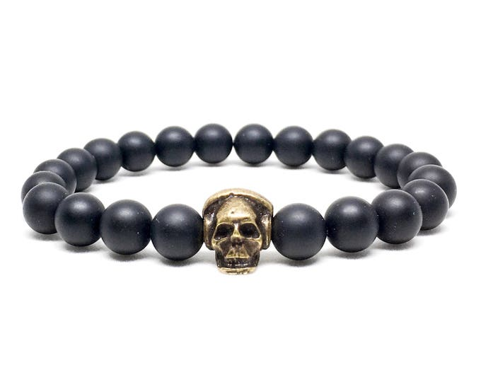 Nice skull with headphones and Matte Onyx beaded bracelet