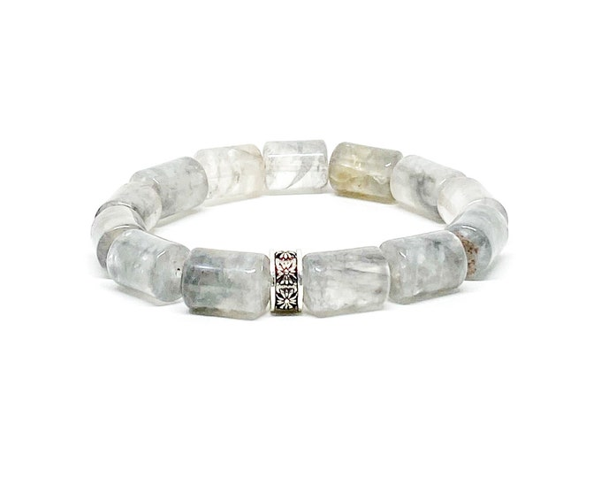 Cloudy Quartz barrel shape with 925 Bali sterling silver spacer.