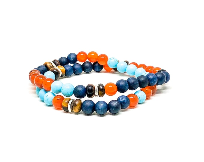 Men's bracelet with Turquoise, Carnelian, Tiger Eye and silver spacers.