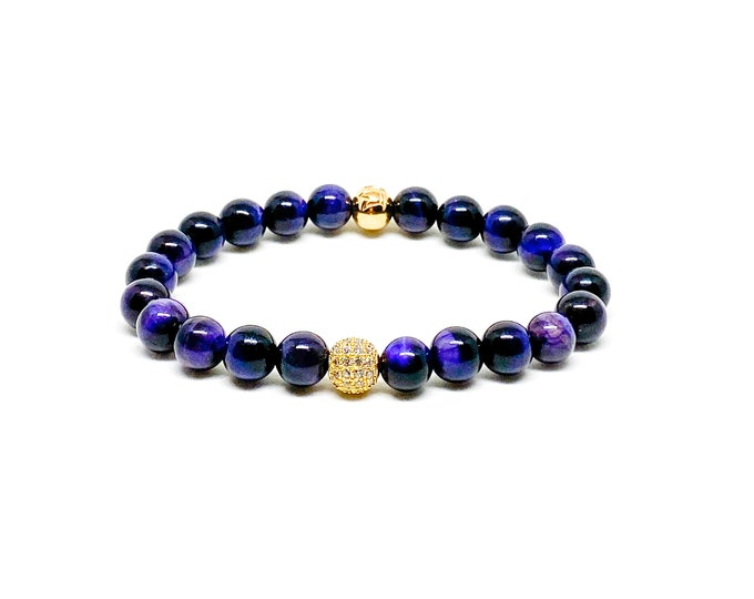 Women's purple tiger eye with cubic zirconia and stainless steel crown logo bead.
