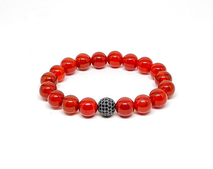 Men's bracelet with Carnelian and gunmetal Cubic Zirconia.