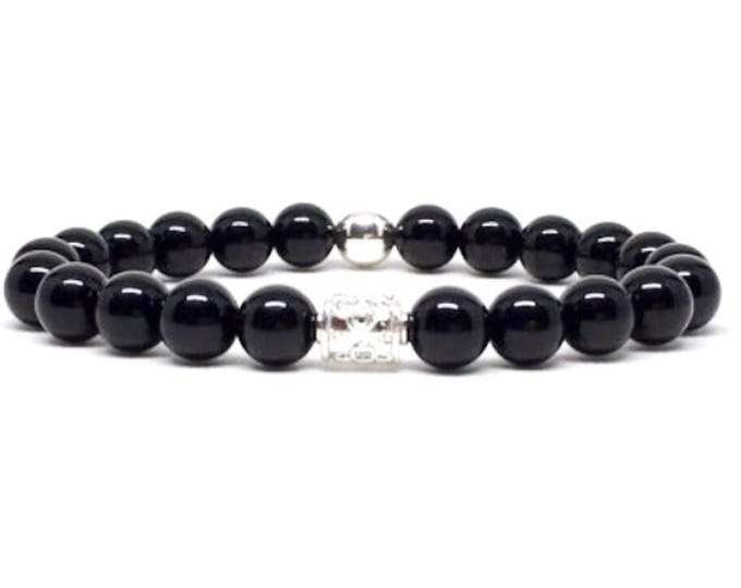 Beautiful 925 Silver and Onyx beaded bracelet