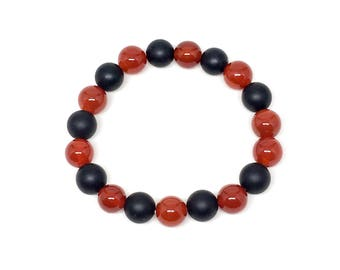 Gorgeous beaded bracelet made with Carnelian and Matte Onyx, mens beaded bracelet, beaded bracelet, bracelet, Onyx bracelet, bracelets