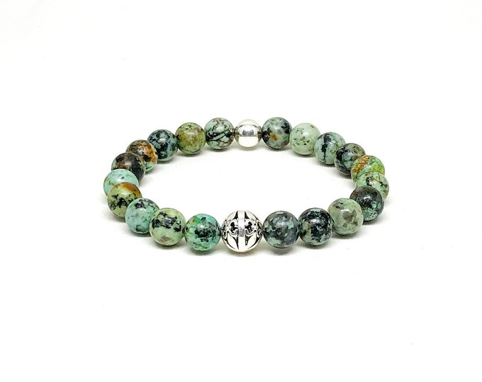 Men's bracelet with African Turquoise and 925 silver.