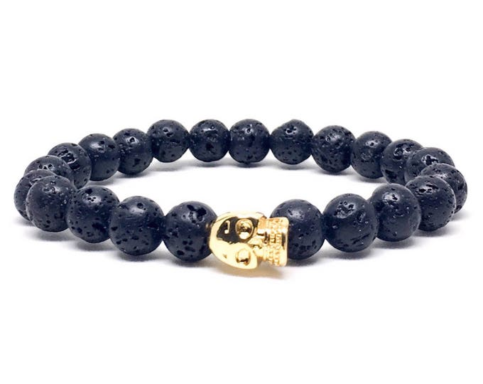 Beautiful mens bracelet with gold skull and Lava Stones, mens beaded bracelet, mens bracelet, beaded bracelet, bracelets, lava bracelet