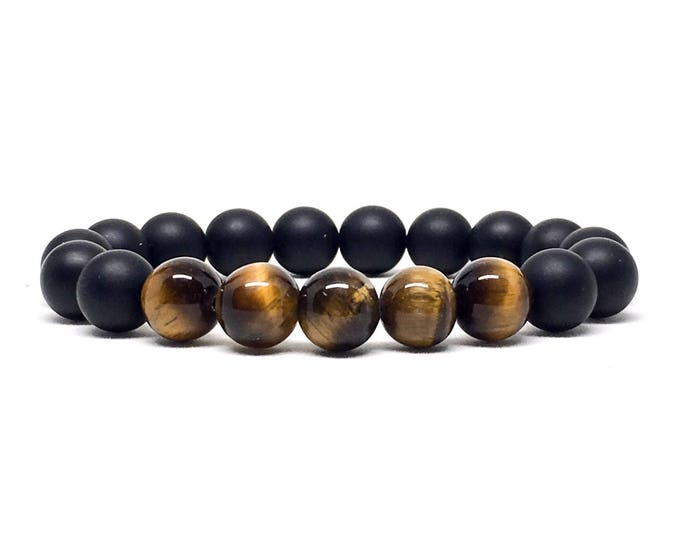 Beautiful Tiger Eye and Matte Onyx beaded bracelet