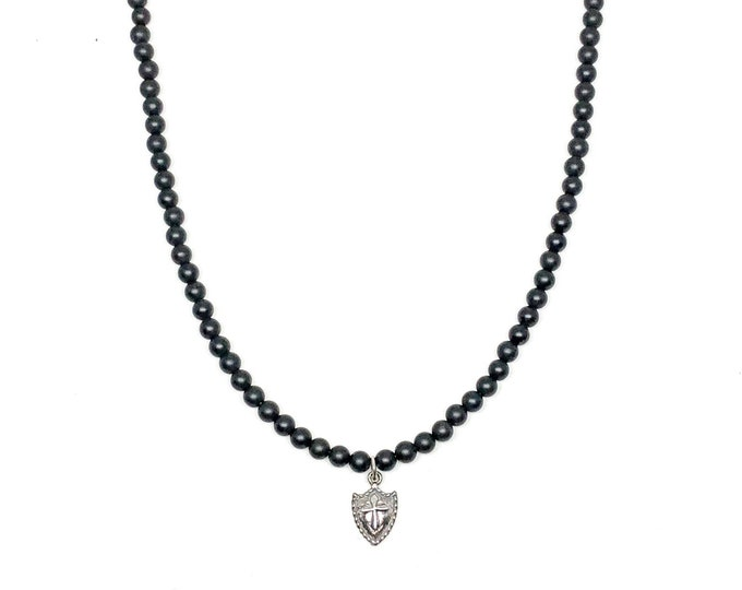 Men's necklace with Matte Onyx and 925 Silver pendant.