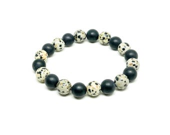 Men's beaded bracelet with Dalmatian and Matte Onyx.