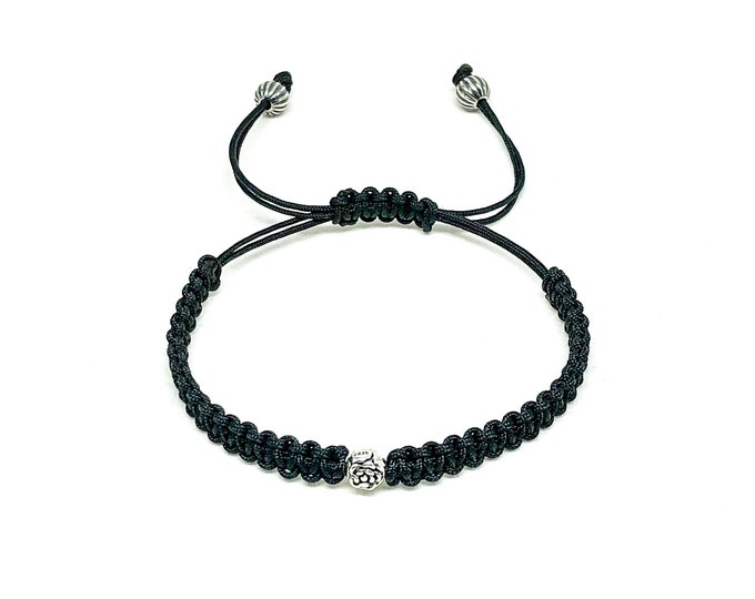 Men's bracelet with 925 Silver Flower bead bracelet with black cord.