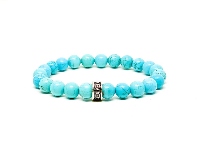Turquoise bracelet with 925 Bali sterling silver spacer.