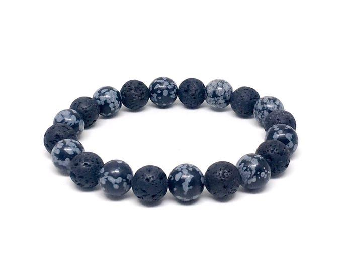 Men's beaded bracelet with Snowflake Obsidian and Lava Stones, men's beaded bracelets, men's bracelets, bracelet, Lava bracelet, bracelets