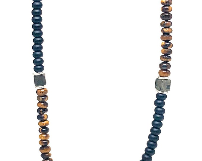 Men's necklace with Onyx, Tiger Eye, Copper Pyrite and Sterling Silver.