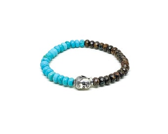 Men's bracelet with Bronzite, Turquoise and a silver buddha.