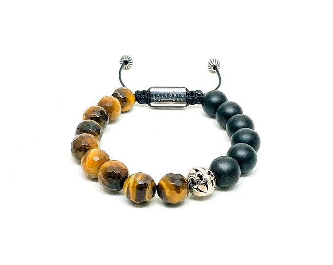 Men's bracelet with 925 Silver, Tiger Eye (FACETED), Matte Onyx and Stainless Steel signature Gregorio New York logo