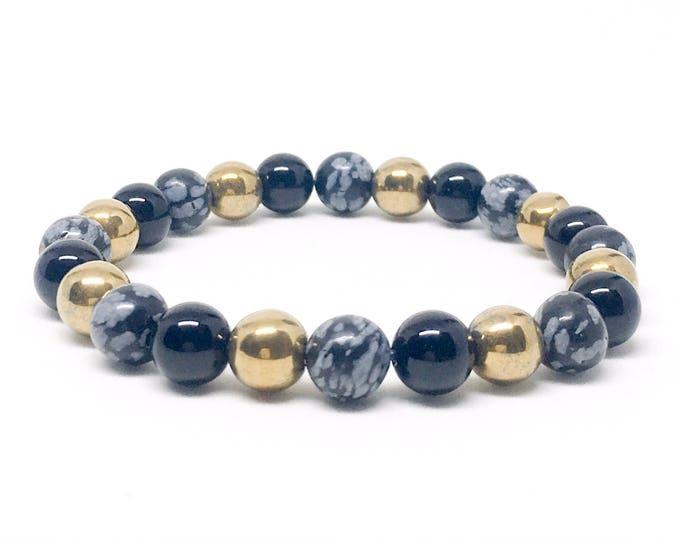 Men's beaded bracelet with Snowflake Obsidian, Matte Onyx and Gold Hematite, men's bracelet, mens  beaded bracelets, beaded bracelet, gift