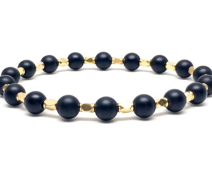 Men's beaded bracelet with 24k Gold Vermeil and Matte Onyx, men's bracelet, men's beaded bracelet, onyx bracelet, gold bracelet, bracelets