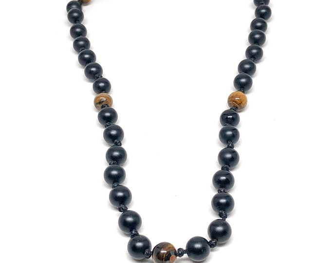 Men's necklace with Matte Onyx and Tiger Eye. Slick knotted design with an edge of coolness.