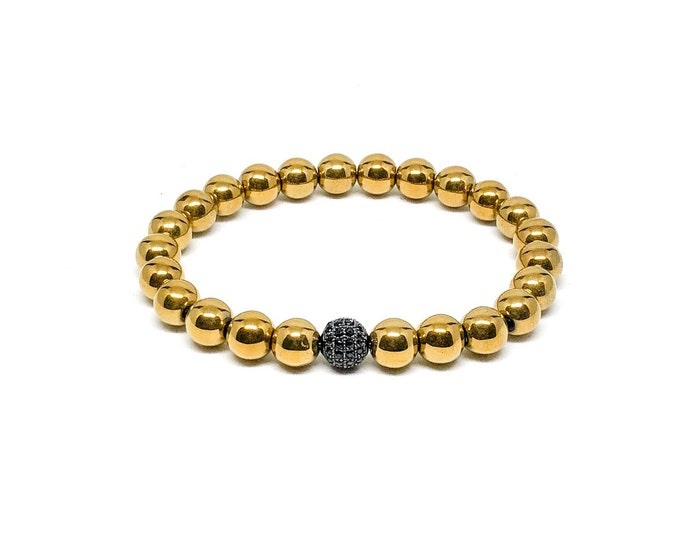 Men's bracelet with gold Hematite and Cubic Zirconia.