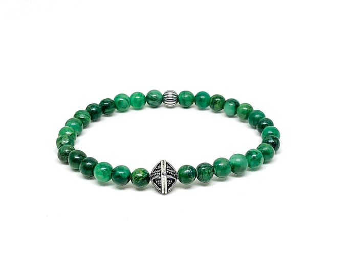 Men's  bracelet with African Jade and 925 silver.