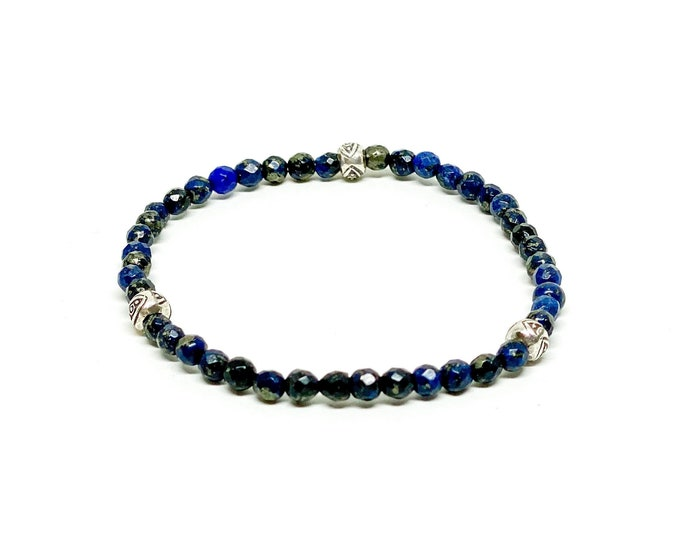 Lapis Lazuli with silver tribal eye bracelet.
