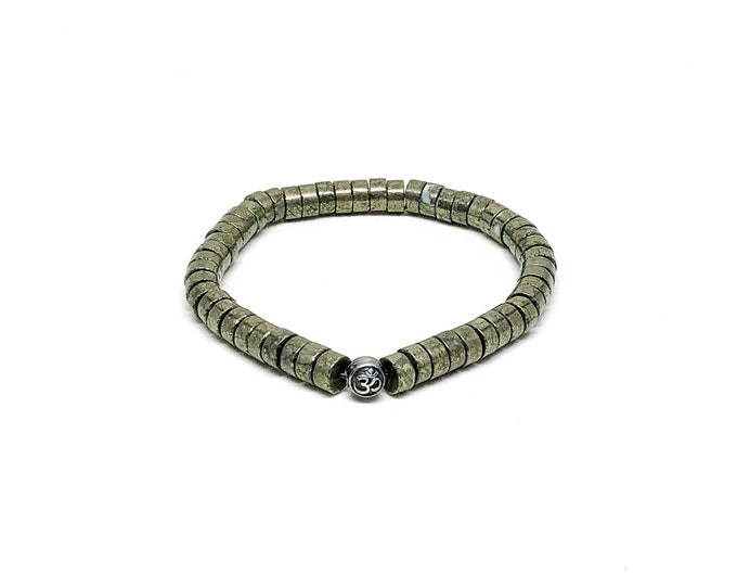 Men's bracelet with Copper Pyrite and 925 silver bead.