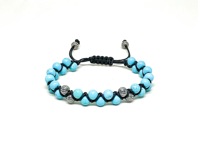 Men's bracelet with Turquoise and 925 Silver.