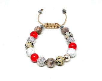 Women's bracelet with CZ, Howlite, Chocolate Sunstone, red Jade, Dalmatian and 925 Silver beads.