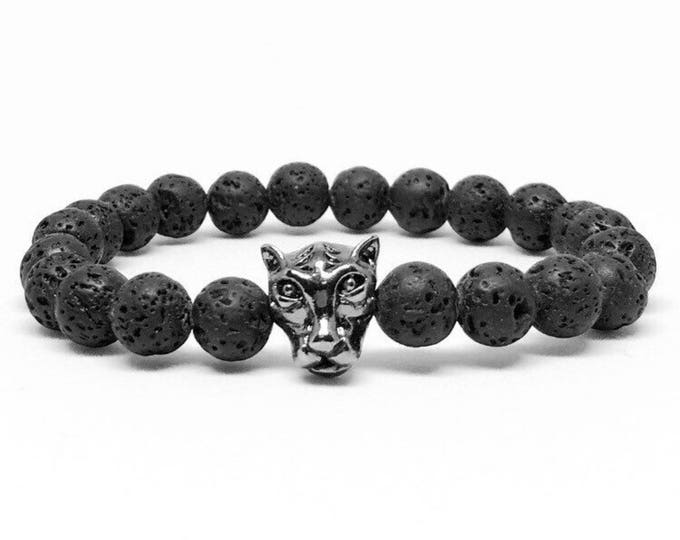Men's beaded bracelet with Lava Stones and Tiger, men's lava bracelet, beaded bracelet, lava beaded bracelet, bracelets, men's bracelet