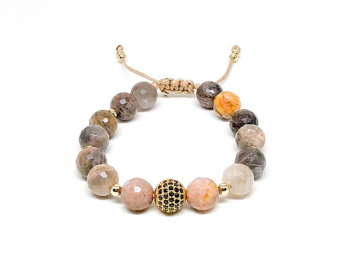 Women's bracelet with Sunstone, Cubic Zirconia and 14k gold filled beads.