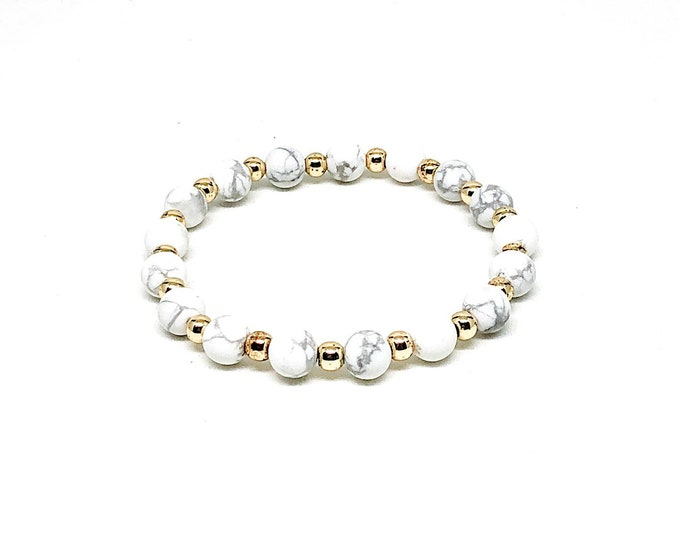 Women's bracelet with matte Howlite and 14k gold filled beads.