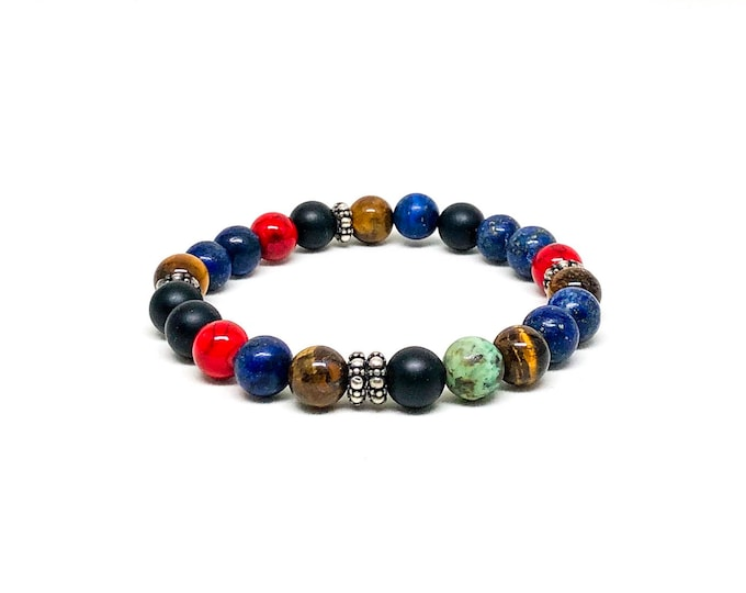 Men's bracelet with a variety of AAA+ stones and sterling silver spacers.