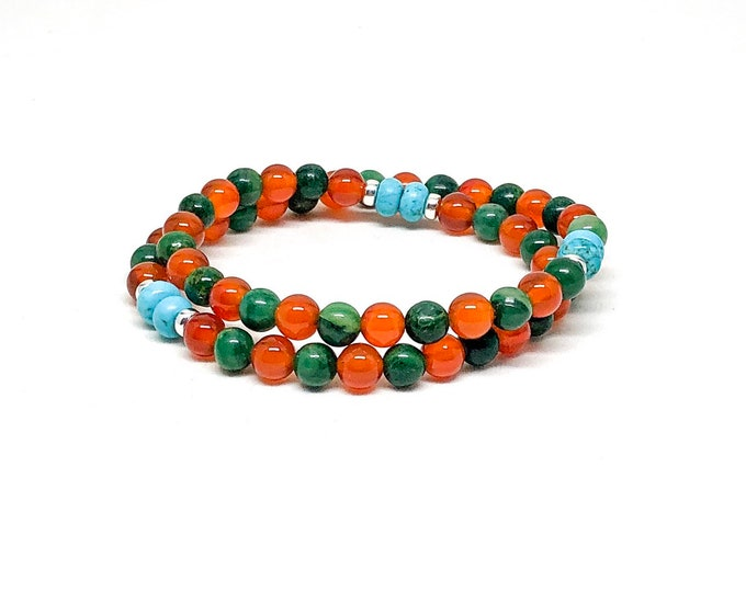 Men's bracelet with orange carnelian, african jade, turquoise and 925 silver.