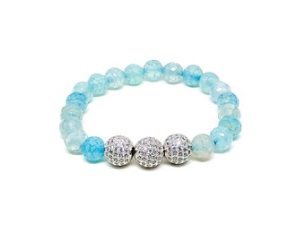 Women's bracelet with blue fire Agate and Cubic Zirconia.