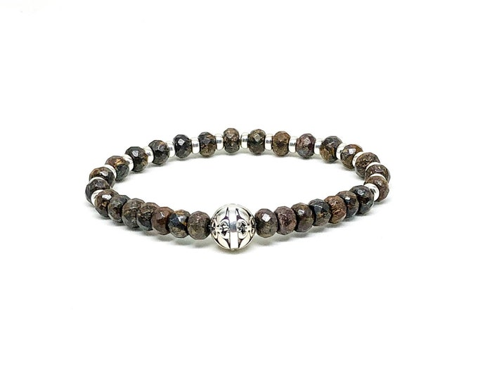 Men's bracelet with 925 silver and Bronzite.
