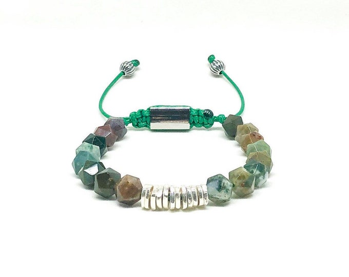Men's bracelet with Agate and 925 Silver spacers.