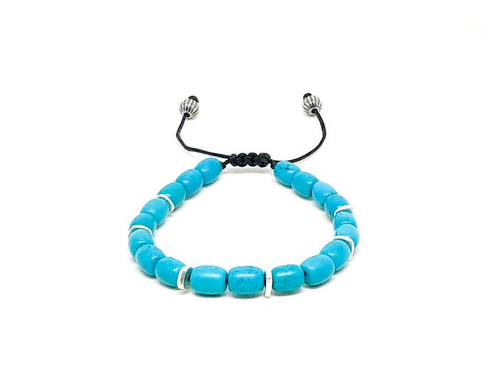Men's bracelet with Turquoise and silver.