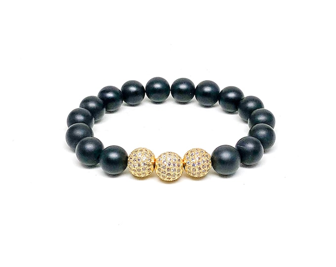 Men's bracelet with Matte Onyx and CZ beads.
