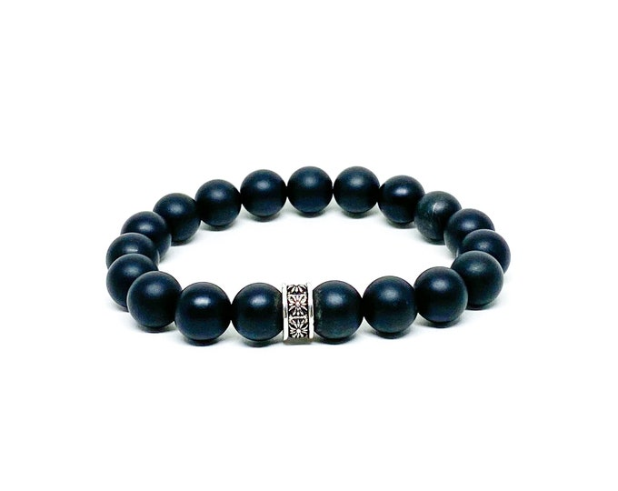 Onyx beaded bracelet with 925 Bali sterling silver spacer.