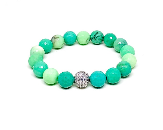 Women's bracelet with Chrysoprase and Cubic Zirconia.