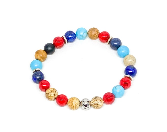 Multicolor bracelet with silver and stainless steel crown logo beads.