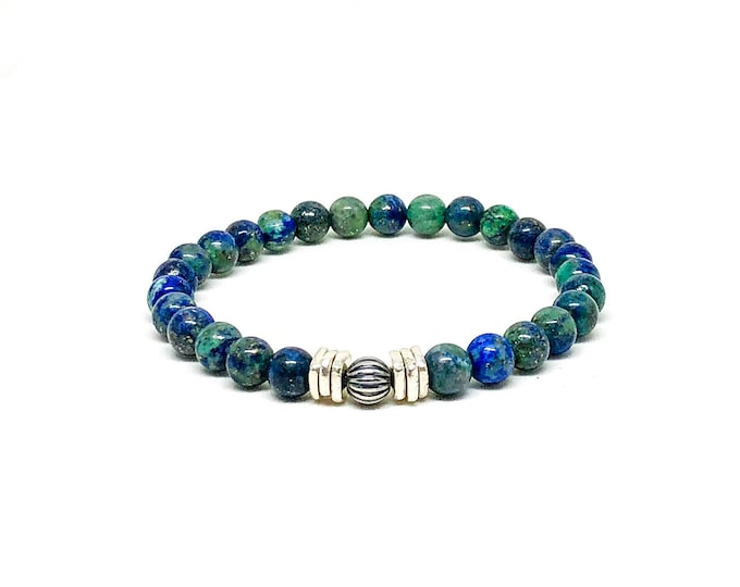 Men's bracelet with Azurite and sterling silver.