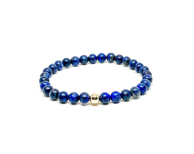 Men's bracelet with 14k solid gold (hollow bead) and Lapis Lazuli.