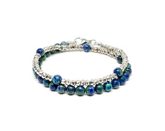 Men's bracelet with Azurite and silver Pyrite.