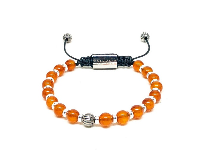 Men's bracelet made with Orange Carnelian, 295 Silver and Stainless Steel.