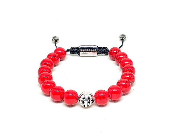Men's bracelet with Red Jade, 925 Silver and Stainless Steel.