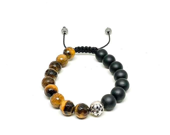 Men's bracelet with 925 Silver, Tiger Eye (FACETED), Matte Onyx.