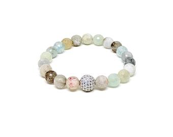 Women's bracelet with Aquamarine and Cubic Zirconia.