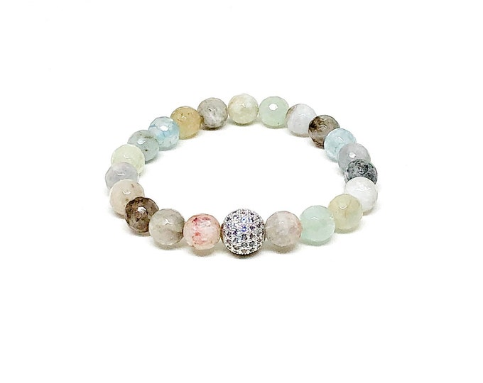 Women's bracelet with Aquamarine and Cubic Zirconia.